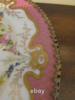 Antique Jullien Fils Ainé France Porcelaine Peinte À La Main Compote Tazza Pink Roses