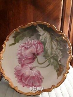 Antique Limoge Ldbp Flambeau Artiste Peint À La Main Signé 11 Inch Plate