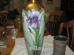 Antique Limoges 12 1/2 Art Accents Peint À La Main D'or Nouveau Floral Iris Vase