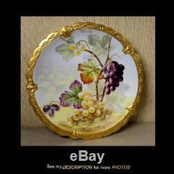 Antique Limoges 12 Chargeur Hand Painted Grapes Décoration Illustrateurs Golse