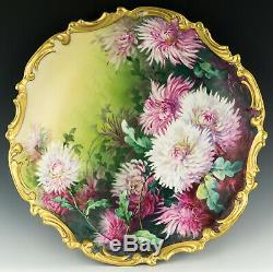 Antique Limoges 13,25 Main Chrysanthèmes Peint Signée Plaque Chargeur Plaque