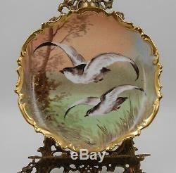 Antique Limoges Aux Oiseaux Peint À La Main Plaque Chargeur Plaque. Sensationnel