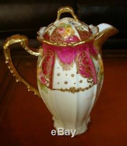 Antique Limoges B & H Peint À La Main Café Chocolat Thé Pot, Roses & Gold, 10