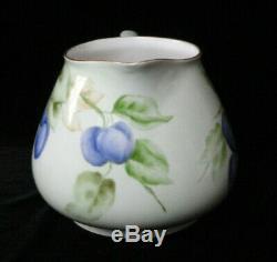 Antique Limoges Chine Pichet De Cidre Peint À La Main / Lemonade Set 6 Gobelets / Lunettes