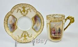 Antique Limoges Chocolat Cup & Saucer, Scénique, Peint À La Main