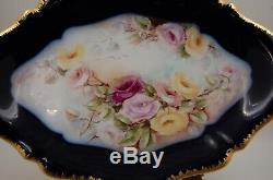 Antique Limoges Cobalt Roses Peinte À La Main Platter Plaque Plateau. Rare 16