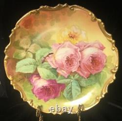 Antique Limoges Coronet France Peint À La Main Charger Roses Signé Duval 11.5