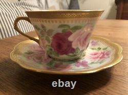 Antique Limoges Coronet Tea Cup & Soucoupe Avec Roses Peintes À La Main Rose Et Garniture D'or