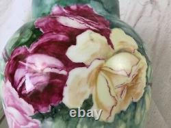 Antique Limoges D&c France Vase Peint À La Main Grande 11 Roses Roses Vertes
