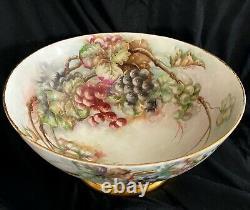 Antique Limoges Énorme Poinçon Peint À La Main Porcelaine Peint Avec Des Raisins