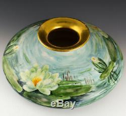 Antique Limoges France 12 Peint À La Main Nymphéas Squat Vase