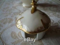 Antique Limoges France Chocolat Peinte À La Main Café Thé Pot, Lourd D'or, 10