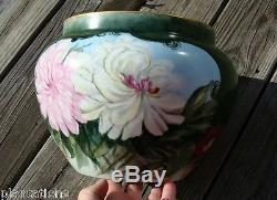 Antique Limoges France Français Porcelaine Peinte À La Main Vase Décoré Jardinière