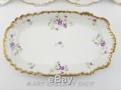 Antique Limoges France Handpainted & Doré Cake Assiette 8 Dessert Set Plates