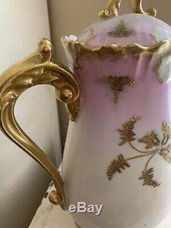 Antique Limoges France Peint À La Main Chocolatecoffeetea Potgold & Rose 10