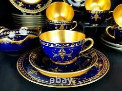 Antique Limoges France Peinture À La Main Cobalt Blue Tea/coffee Ensemble De 29 Pièces 1928