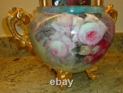Antique Limoges France Peinture À La Main Porcelaine Jardiniere Roses