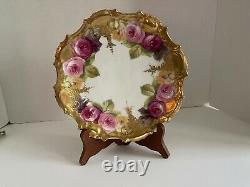Antique Limoges France Plaque De Rose Peinte À La Main W Heavy Gold 1890