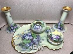 Antique Limoges France Robinet Peint À La Main En Porcelaine Set 1909 Signé
