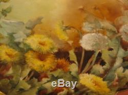Antique Limoges Grand Chargeur Plate Fleurs De Pissenlit Peint À La Main Marqué 13,5