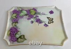 Antique Limoges Hand Painted Purple Floral Vanity Dresser Tray Set 7 Pièces