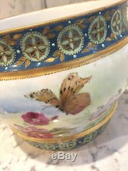Antique Limoges Jardinière Planteur Peint À La Main Rehaussées D'or Bumblebee Papillon