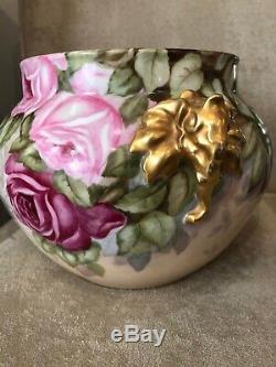 Antique Limoges Jardinière Vase Peint À La Main Rose Jpl Jean Pouyat Poignée Elephant