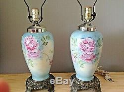 Antique Limoges Lampe De Table Paire Signé Painted Signé Main Bleue W Rose Roses Bin