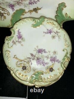 Antique Limoges Lrl France Pantalon Peint À La Main Platter Et 12 Plaques