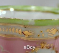 Antique Limoges Magnifiques Peint À La Main Chocolat Rose Vert & Or Pot Avec 5 Coupes