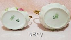 Antique Limoges Peinte À La Main Coronet Tea Pot & Sugar Bowl