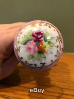 Antique Limoges Peinte À La Main Floral Design & Feuille D'or En Porcelaine Porte Set Bouton