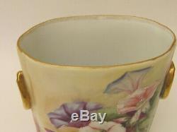 Antique Limoges Peinte À La Main Guerin Cache Pot Vase Pétunia Décoration 1900