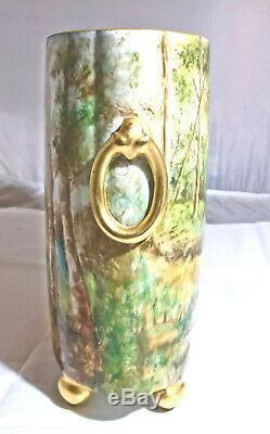 Antique Limoges, Peinte À La Main W Guerin Porcelaine Cachepot, Paysage, A A Harvey