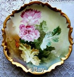 Antique Limoges Plaque Peinte À La Main Fleurs D'or Garniture Gâteau, Illustrateurs, 10