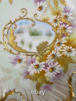 Antique Limoges Plate / Chargeur Peint À La Main Fleurs Marguerites D'or Émail V. F