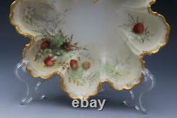 Antique Limoges Porcelaine 4 Pièces Berry Plat Ensemble Fraises Peintes À La Main