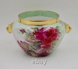 Antique Limoges Roses Peinte À La Main Planteur De Porcelaine Jardiniere Vase