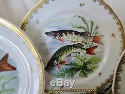 Antique Limoges Style Salade Peinte À La Main / Assiettes Déjeuner Lot De 12 Designs