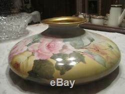 Antique Limoges T & V Grand Squat Vase Peint À La Main Avec Des Roses 12 X 5