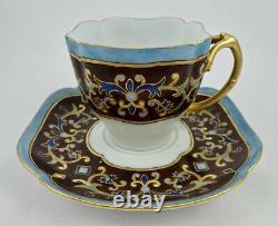 Antique Limoges Tea Cup & Saucer Peint À La Main