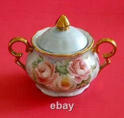 Antique Limoges Théière Peinte À La Main En Porcelaine & Sugar Bowl Roses Gold! Signé