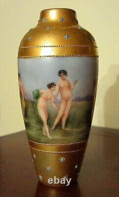 Antique Limoges Vase Peint À La Main Nu De Bain De Beautés Or Et Bijoux