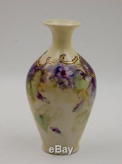 Antique Limoges Violet Peint À La Main Vase