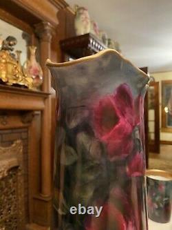 Antique Limoges Water Limoade Set Peint À La Main Roses Rouges Profondes