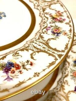 Antique Limoges William Guerin Signé Set 12 Assiettes De Dîner Peintes À La Main Luxe