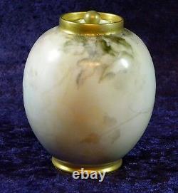 Antique M R Martial Redon Limoges Pink Roses Gold Guild Small Powder Jar Dresser