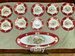 Antique Main Peintes Poisson (platter + 12 Plaques) S'il Vous Plaît Lire La Description