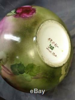 Antique Old Fine Peinte À La Main Florale Décoré Peinture Française Vase De Roses Rouges