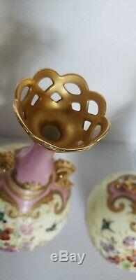 Antique Paire De Vases Limoges Decores Oiseaux Fleurs